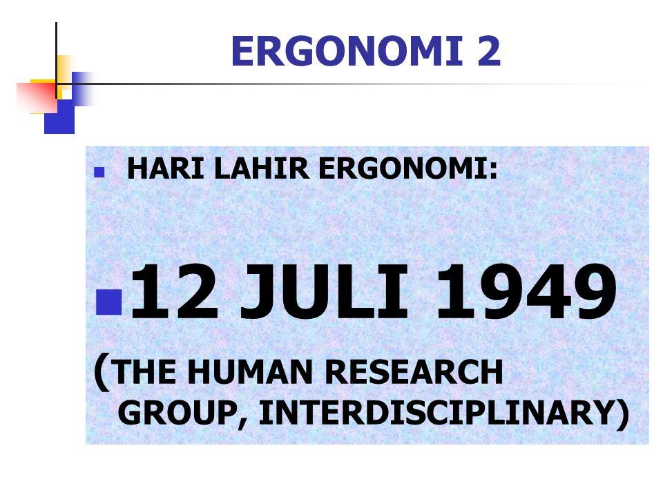 ERGONOMI 3 ASAL KATA DARI BAHASA YUNANI: (PERESMIAN 16 Pebruary 1950) ERGON=BEKERJA NOMOS=HUKUM ALAM