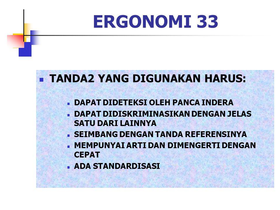 ERGONOMI 33 TANDA2 YANG DIGUNAKAN HARUS: DAPAT DIDETEKSI OLEH PANCA INDERA DAPAT DIDISKRIMINASIKAN DENGAN JELAS SATU DARI LAINNYA SEIMBANG DENGAN TAND