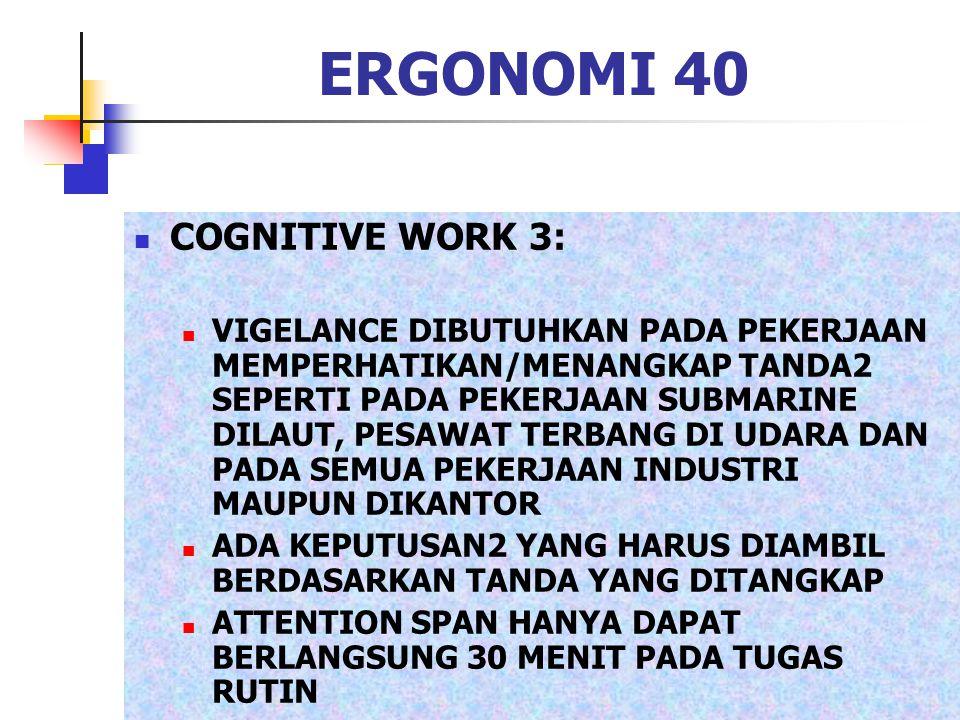 ERGONOMI 40 COGNITIVE WORK 3: VIGELANCE DIBUTUHKAN PADA PEKERJAAN MEMPERHATIKAN/MENANGKAP TANDA2 SEPERTI PADA PEKERJAAN SUBMARINE DILAUT, PESAWAT TERB
