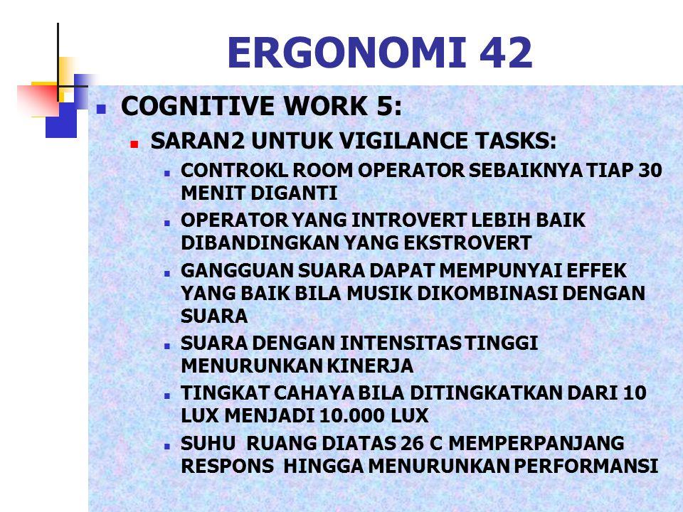 ERGONOMI 42 COGNITIVE WORK 5: SARAN2 UNTUK VIGILANCE TASKS: CONTROKL ROOM OPERATOR SEBAIKNYA TIAP 30 MENIT DIGANTI OPERATOR YANG INTROVERT LEBIH BAIK
