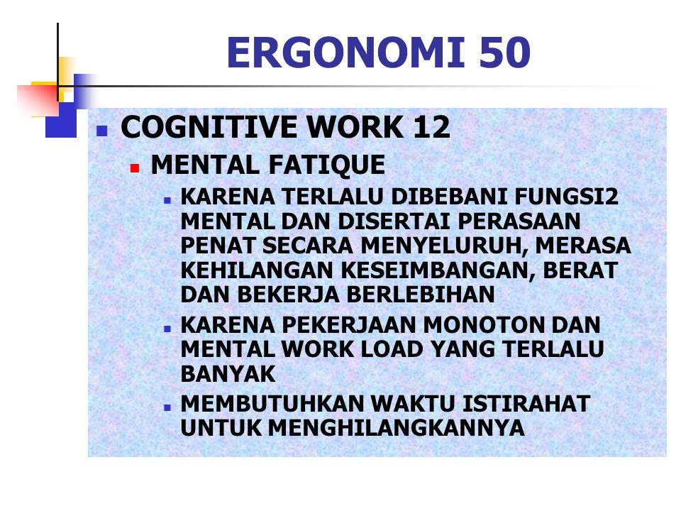 ERGONOMI 50 COGNITIVE WORK 12 MENTAL FATIQUE KARENA TERLALU DIBEBANI FUNGSI2 MENTAL DAN DISERTAI PERASAAN PENAT SECARA MENYELURUH, MERASA KEHILANGAN K