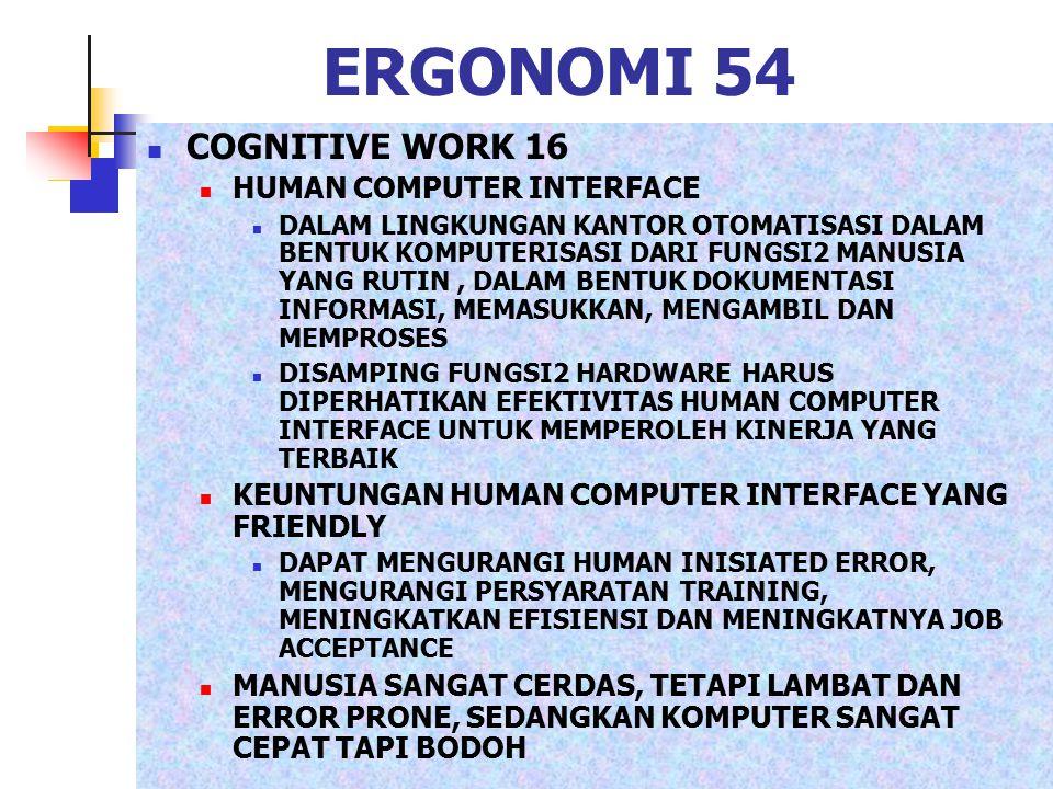 ERGONOMI 54 COGNITIVE WORK 16 HUMAN COMPUTER INTERFACE DALAM LINGKUNGAN KANTOR OTOMATISASI DALAM BENTUK KOMPUTERISASI DARI FUNGSI2 MANUSIA YANG RUTIN,