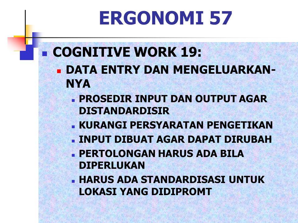 ERGONOMI 57 COGNITIVE WORK 19: DATA ENTRY DAN MENGELUARKAN- NYA PROSEDIR INPUT DAN OUTPUT AGAR DISTANDARDISIR KURANGI PERSYARATAN PENGETIKAN INPUT DIB