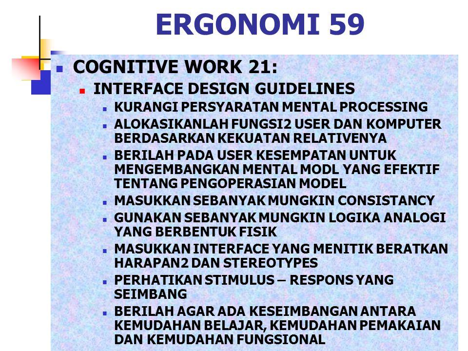 ERGONOMI 59 COGNITIVE WORK 21: INTERFACE DESIGN GUIDELINES KURANGI PERSYARATAN MENTAL PROCESSING ALOKASIKANLAH FUNGSI2 USER DAN KOMPUTER BERDASARKAN K
