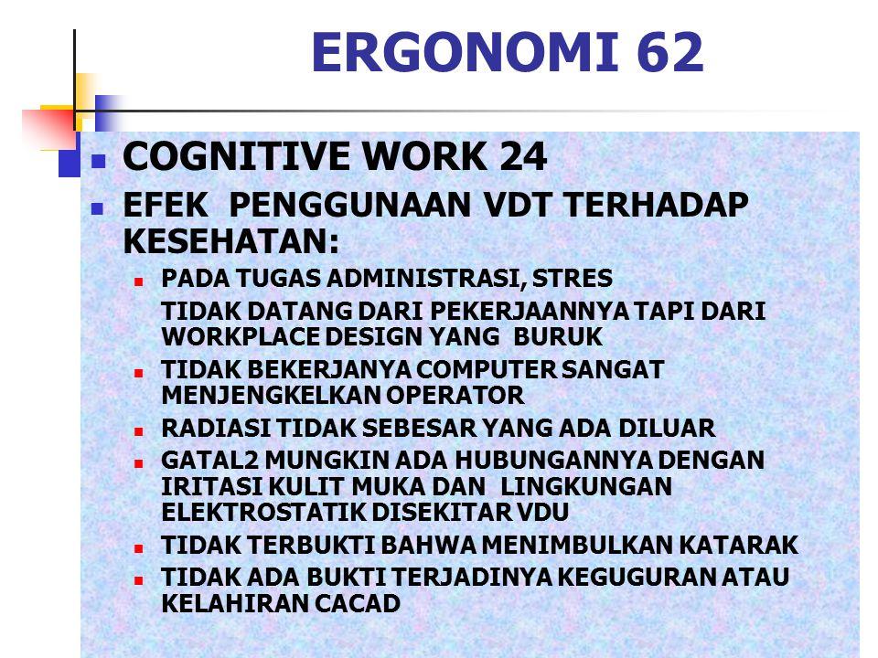ERGONOMI 62 COGNITIVE WORK 24 EFEK PENGGUNAAN VDT TERHADAP KESEHATAN: PADA TUGAS ADMINISTRASI, STRES TIDAK DATANG DARI PEKERJAANNYA TAPI DARI WORKPLAC