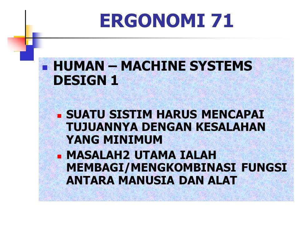 ERGONOMI 71 HUMAN – MACHINE SYSTEMS DESIGN 1 SUATU SISTIM HARUS MENCAPAI TUJUANNYA DENGAN KESALAHAN YANG MINIMUM MASALAH2 UTAMA IALAH MEMBAGI/MENGKOMB