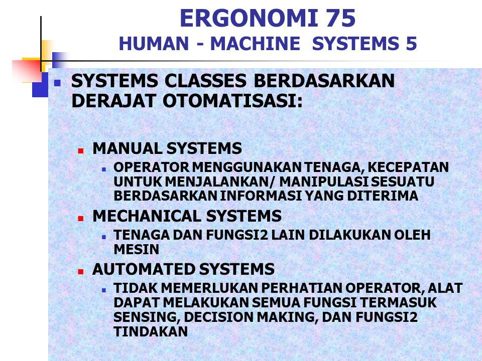 ERGONOMI 75 HUMAN - MACHINE SYSTEMS 5 SYSTEMS CLASSES BERDASARKAN DERAJAT OTOMATISASI: MANUAL SYSTEMS OPERATOR MENGGUNAKAN TENAGA, KECEPATAN UNTUK MEN