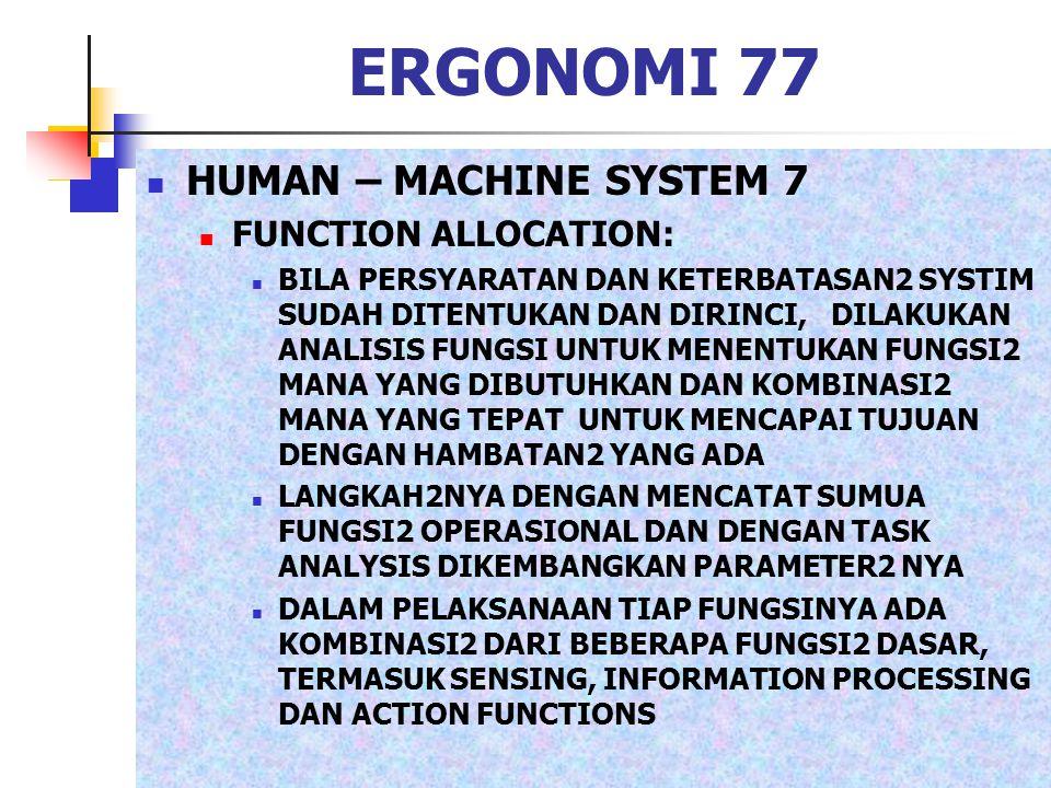 ERGONOMI 77 HUMAN – MACHINE SYSTEM 7 FUNCTION ALLOCATION: BILA PERSYARATAN DAN KETERBATASAN2 SYSTIM SUDAH DITENTUKAN DAN DIRINCI, DILAKUKAN ANALISIS F