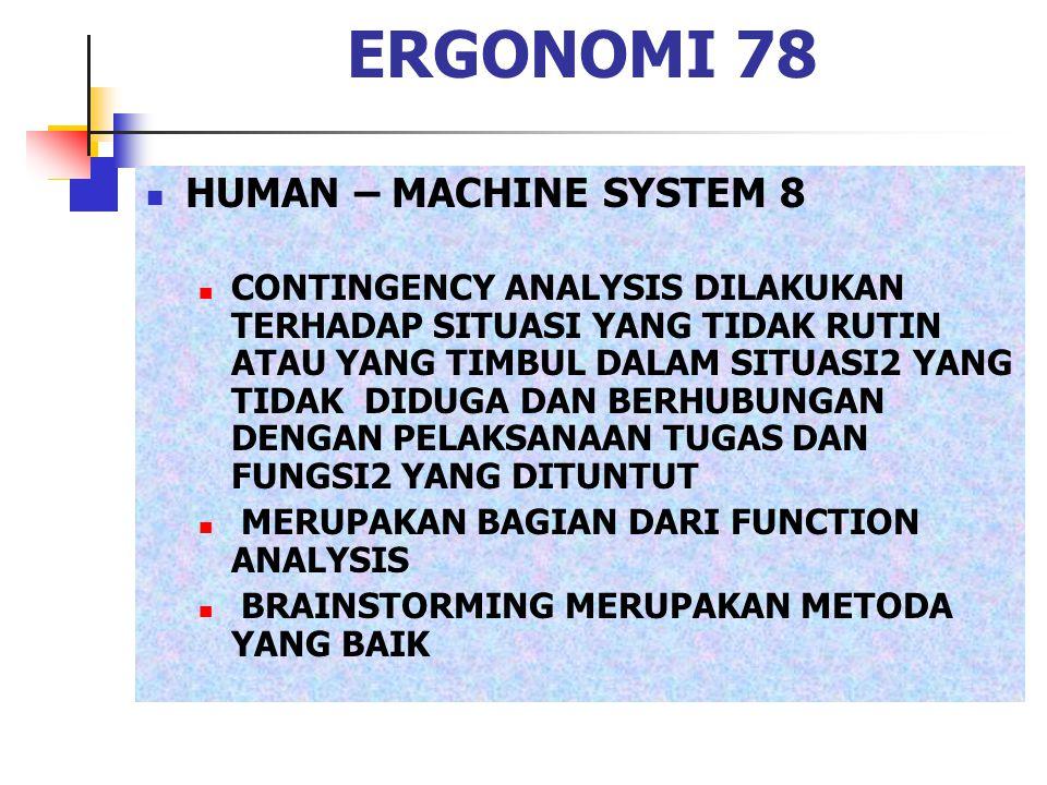 ERGONOMI 78 HUMAN – MACHINE SYSTEM 8 CONTINGENCY ANALYSIS DILAKUKAN TERHADAP SITUASI YANG TIDAK RUTIN ATAU YANG TIMBUL DALAM SITUASI2 YANG TIDAK DIDUG