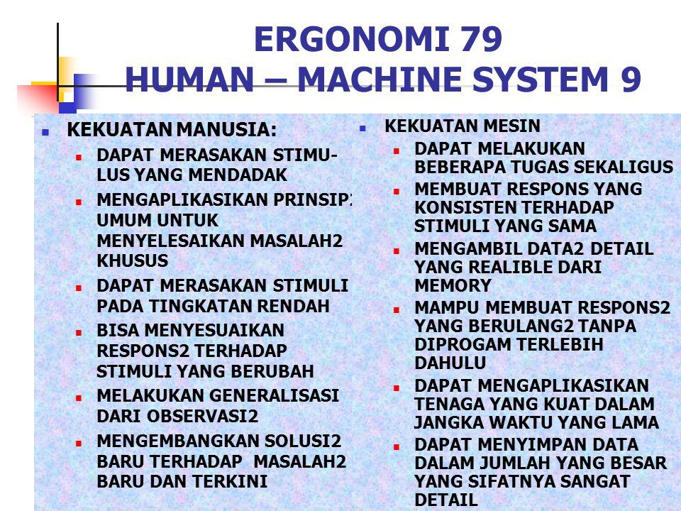 ERGONOMI 79 HUMAN – MACHINE SYSTEM 9 KEKUATAN MANUSIA: DAPAT MERASAKAN STIMU- LUS YANG MENDADAK MENGAPLIKASIKAN PRINSIP2 UMUM UNTUK MENYELESAIKAN MASA