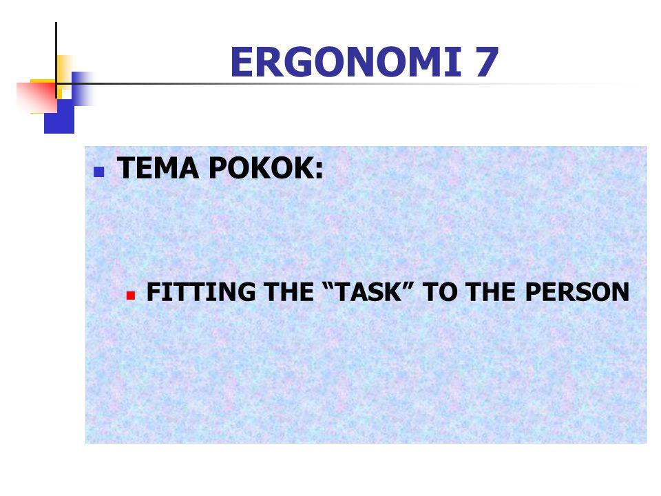 ERGONOMI 8 SASARAN: (PULAT) COMFORT ERGONOMICS WELL BEING EFFICIENCY: -PHYSICAL --MENTAL --PRODUCTION