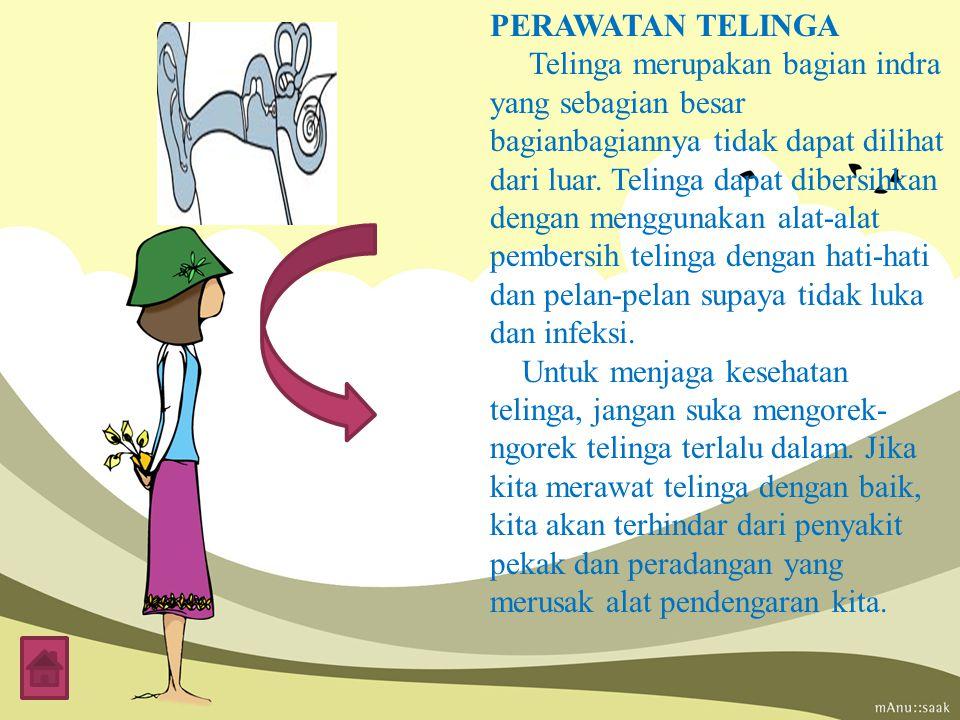 PERAWATAN TELINGA Telinga merupakan bagian indra yang sebagian besar bagianbagiannya tidak dapat dilihat dari luar.
