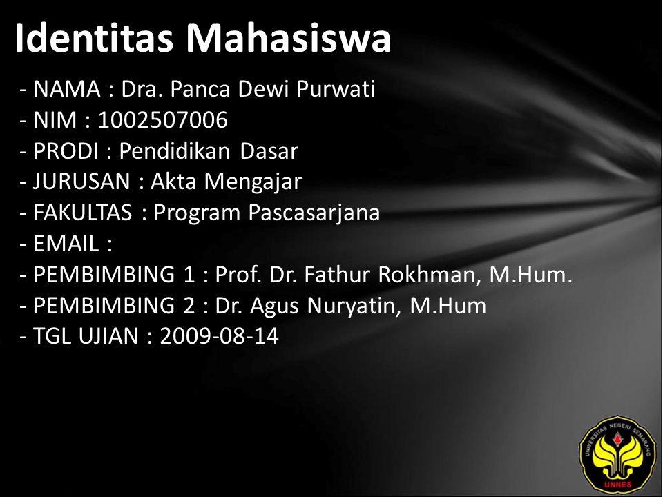 Identitas Mahasiswa - NAMA : Dra. Panca Dewi Purwati - NIM : 1002507006 - PRODI : Pendidikan Dasar - JURUSAN : Akta Mengajar - FAKULTAS : Program Pasc