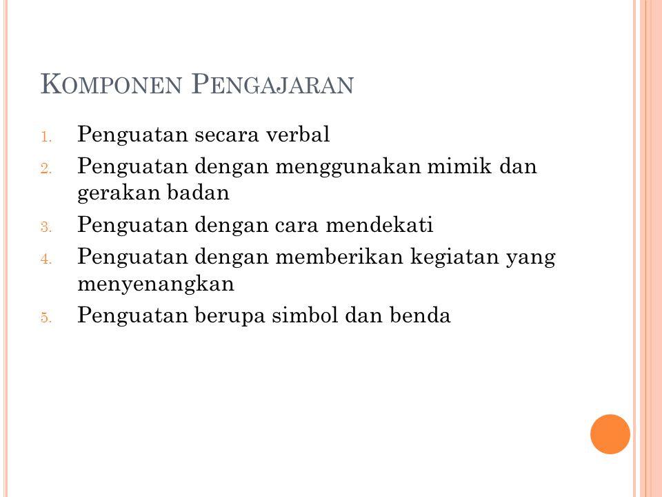 K OMPONEN P ENGAJARAN 1. Penguatan secara verbal 2.