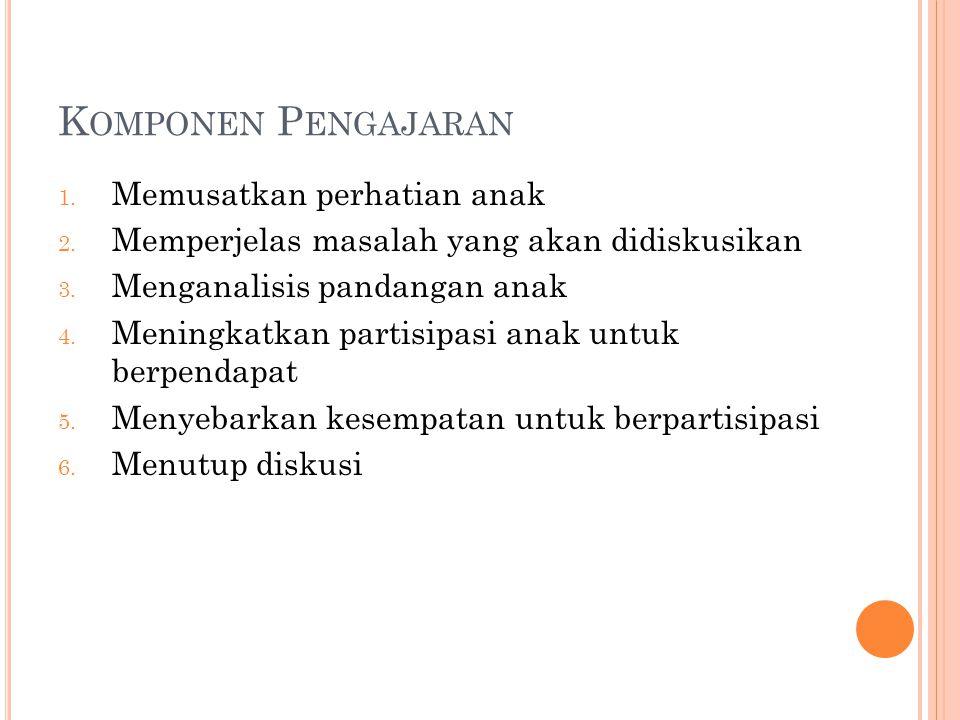 K OMPONEN P ENGAJARAN 1. Memusatkan perhatian anak 2.
