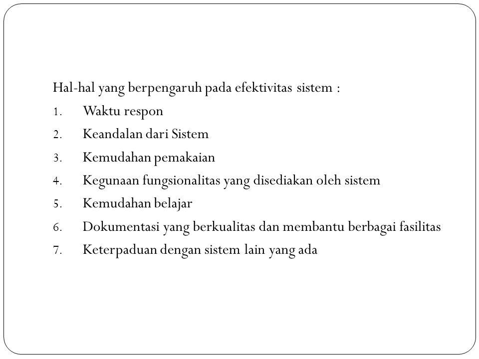 Hal-hal yang berpengaruh pada efektivitas sistem : 1. Waktu respon 2. Keandalan dari Sistem 3. Kemudahan pemakaian 4. Kegunaan fungsionalitas yang dis