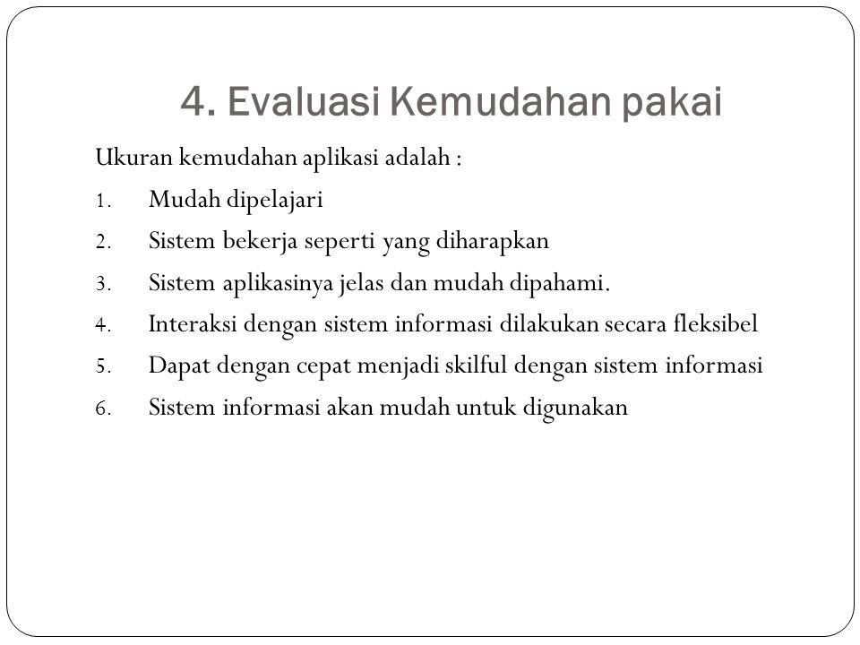 4. Evaluasi Kemudahan pakai Ukuran kemudahan aplikasi adalah : 1. Mudah dipelajari 2. Sistem bekerja seperti yang diharapkan 3. Sistem aplikasinya jel