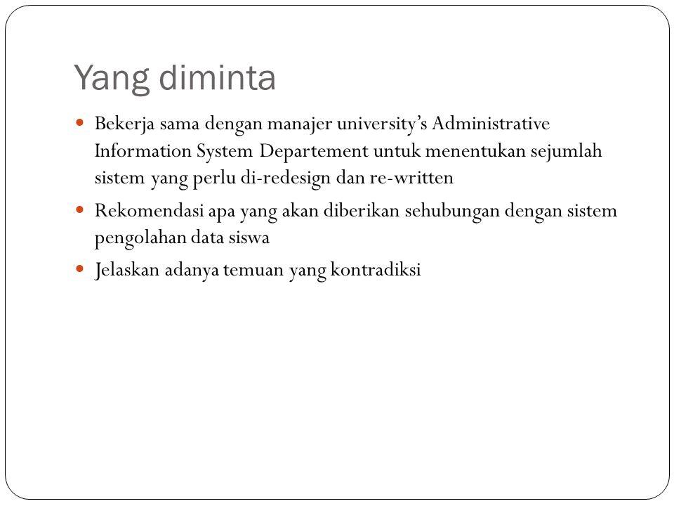 Yang diminta Bekerja sama dengan manajer university's Administrative Information System Departement untuk menentukan sejumlah sistem yang perlu di-red