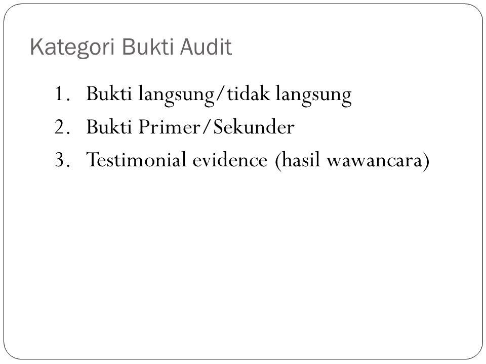 Kualitas Bukti Audit Ukuran dapat tidaknya suatu bukti digunakan sebagai bahan untuk menarik kesimpulan atau memberikan rekomendasi oleh auditor.