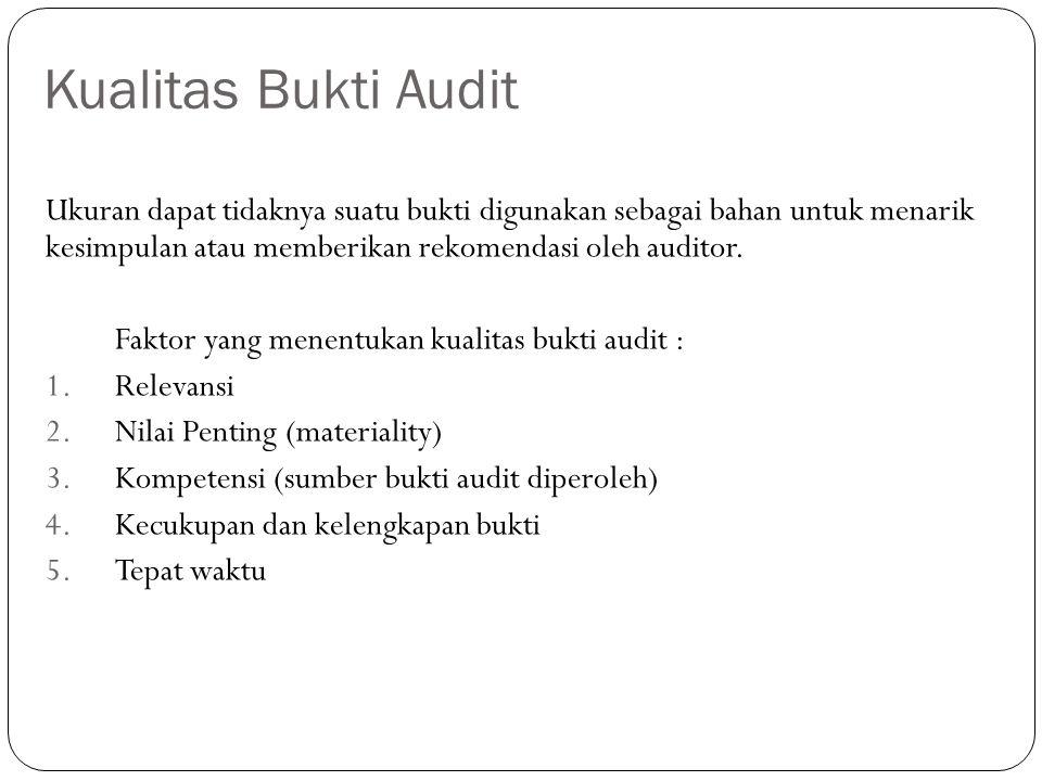 Kualitas Bukti Audit Ukuran dapat tidaknya suatu bukti digunakan sebagai bahan untuk menarik kesimpulan atau memberikan rekomendasi oleh auditor. Fakt
