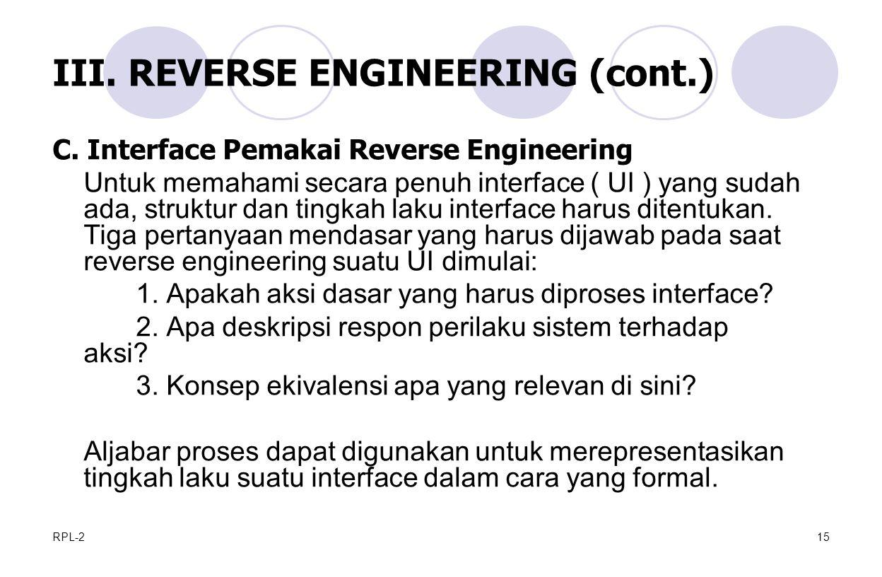 RPL-215 III.REVERSE ENGINEERING (cont.) C.