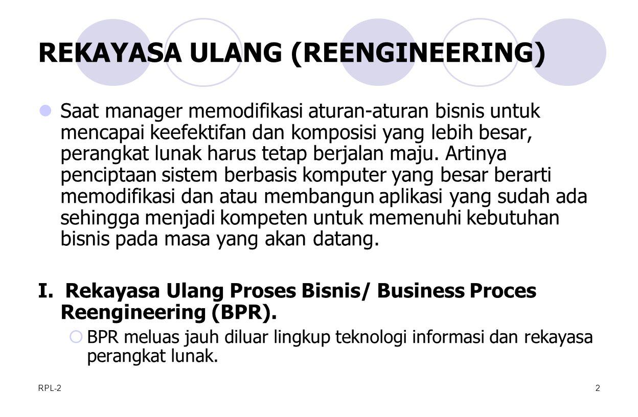 RPL-22 REKAYASA ULANG (REENGINEERING) Saat manager memodifikasi aturan-aturan bisnis untuk mencapai keefektifan dan komposisi yang lebih besar, perangkat lunak harus tetap berjalan maju.