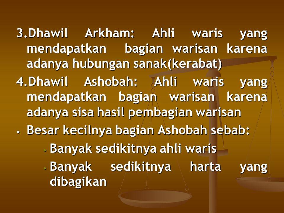 3.Dhawil Arkham: Ahli waris yang mendapatkan bagian warisan karena adanya hubungan sanak(kerabat) 4.Dhawil Ashobah: Ahli waris yang mendapatkan bagian