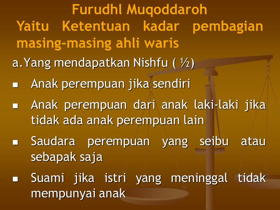 a.Yang mendapatkan Nishfu ( ½) Anak perempuan jika sendiri Anak perempuan dari anak laki-laki jika tidak ada anak perempuan lain Saudara perempuan yan
