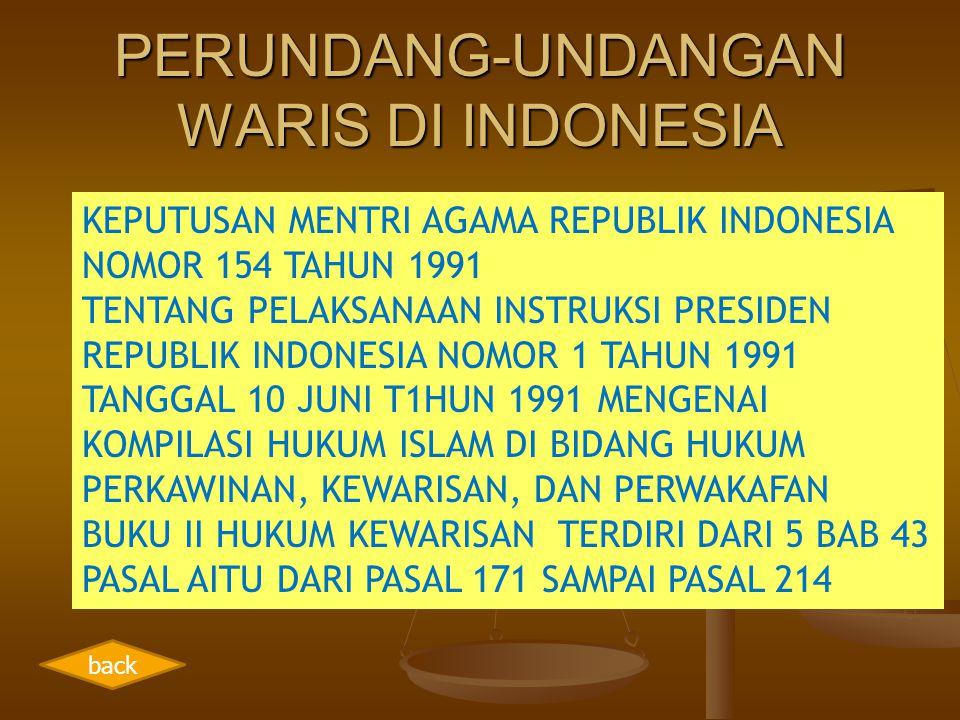 PERUNDANG-UNDANGAN WARIS DI INDONESIA KEPUTUSAN MENTRI AGAMA REPUBLIK INDONESIA NOMOR 154 TAHUN 1991 TENTANG PELAKSANAAN INSTRUKSI PRESIDEN REPUBLIK I