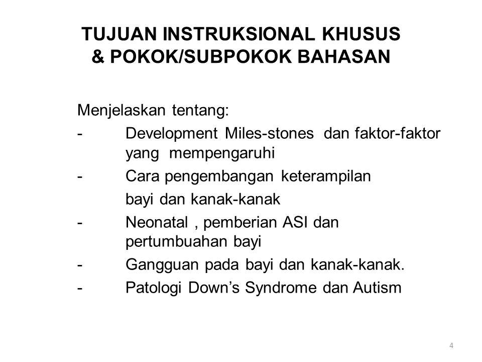 TUJUAN INSTRUKSIONAL KHUSUS & POKOK/SUBPOKOK BAHASAN Menjelaskan tentang: -Development Miles-stones dan faktor-faktor yang mempengaruhi -Cara pengemba