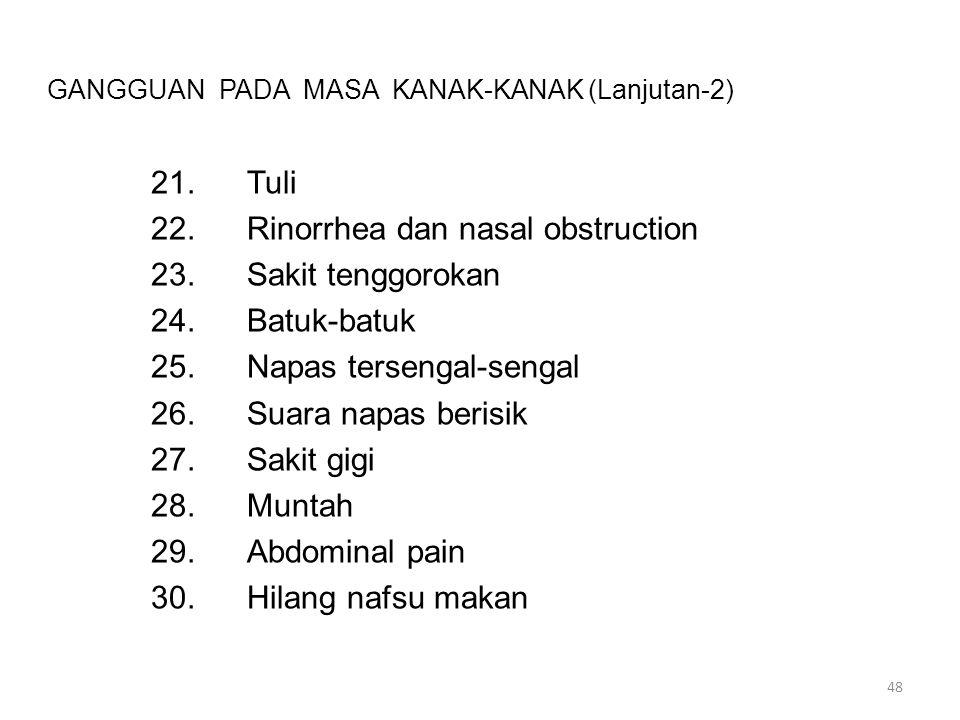 GANGGUAN PADA MASA KANAK-KANAK (Lanjutan-2) 21.Tuli 22.Rinorrhea dan nasal obstruction 23.Sakit tenggorokan 24.Batuk-batuk 25.Napas tersengal-sengal 2