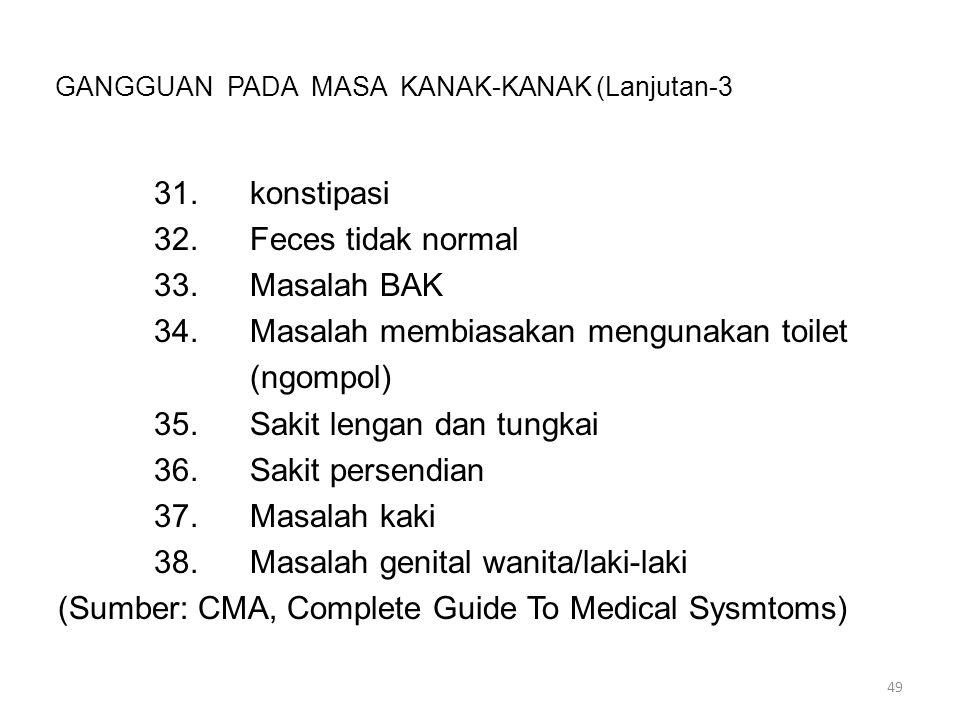 GANGGUAN PADA MASA KANAK-KANAK (Lanjutan-3 31.konstipasi 32.Feces tidak normal 33.Masalah BAK 34.Masalah membiasakan mengunakan toilet (ngompol) 35.Sa