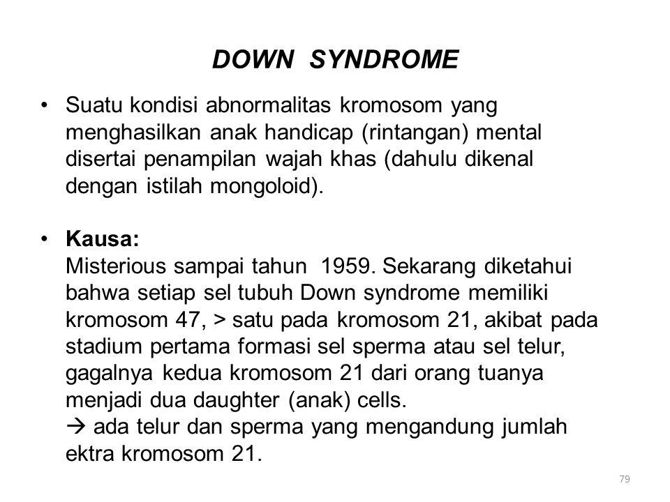 DOWN SYNDROME Suatu kondisi abnormalitas kromosom yang menghasilkan anak handicap (rintangan) mental disertai penampilan wajah khas (dahulu dikenal de