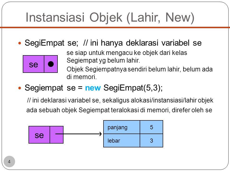 Instansiasi Objek (Lahir, New) SegiEmpat se; // ini hanya deklarasi variabel se se siap untuk mengacu ke objek dari kelas Segiempat yg belum lahir.