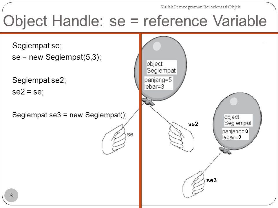 Object Handle: se = reference Variable Segiempat se; se = new Segiempat(5,3); Segiempat se2; se2 = se; Segiempat se3 = new Segiempat(); Kuliah Pemrograman Berorientasi Objek 8