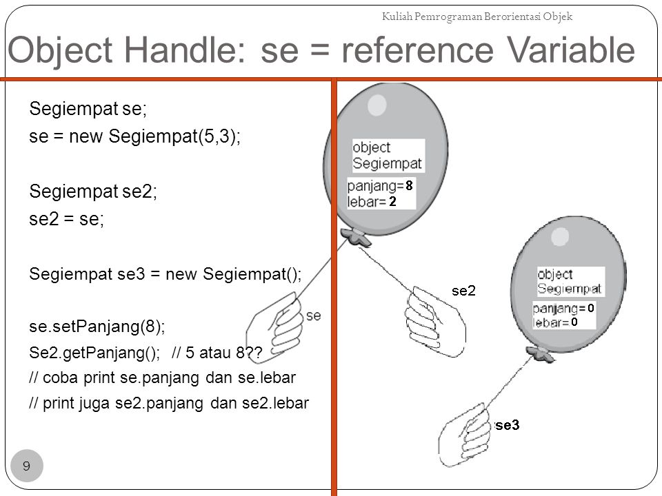Object Handle: se = reference Variable Segiempat se; se = new Segiempat(5,3); Segiempat se2; se2 = se; Segiempat se3 = new Segiempat(); se.setPanjang(8); Se2.getPanjang(); // 5 atau 8 .