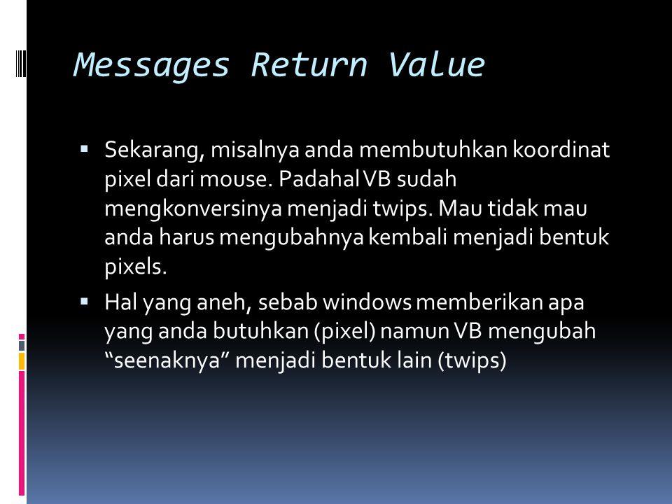 Messages Return Value  Pertanyaanya adalah  bisakah saya menghindari hal ini?.