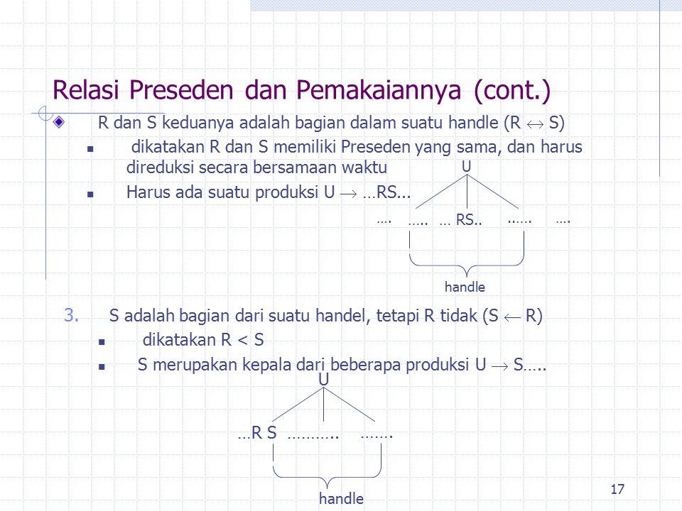 17 R dan S keduanya adalah bagian dalam suatu handle (R  S) dikatakan R dan S memiliki Preseden yang sama, dan harus direduksi secara bersamaan waktu