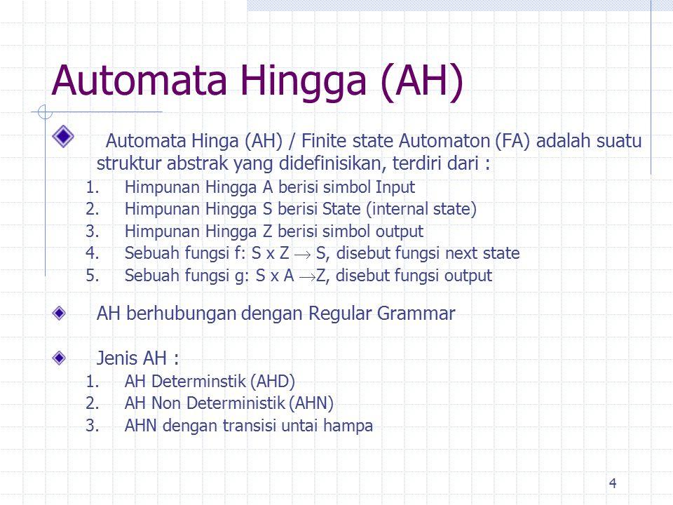 4 Automata Hingga (AH) Automata Hinga (AH) / Finite state Automaton (FA) adalah suatu struktur abstrak yang didefinisikan, terdiri dari : 1.Himpunan H