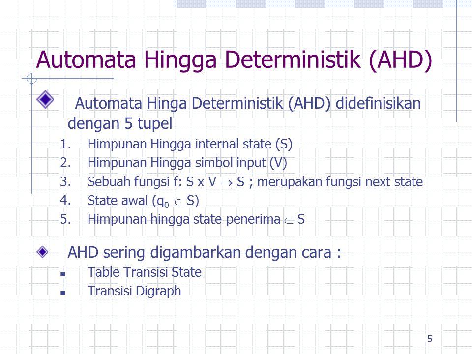 5 Automata Hingga Deterministik (AHD) Automata Hinga Deterministik (AHD) didefinisikan dengan 5 tupel 1.Himpunan Hingga internal state (S) 2.Himpunan