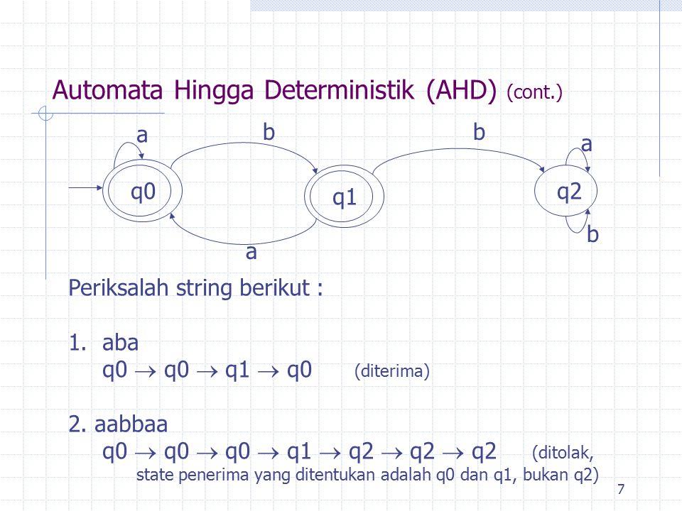 7 Automata Hingga Deterministik (AHD) (cont.) q2 q0q1 a a bb a b Periksalah string berikut : 1.aba q0  q0  q1  q0 (diterima) 2. aabbaa q0  q0  q0