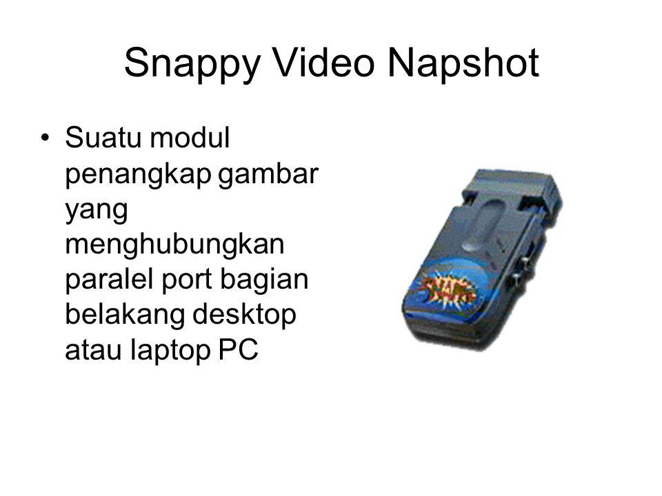 Snappy Video Napshot Suatu modul penangkap gambar yang menghubungkan paralel port bagian belakang desktop atau laptop PC