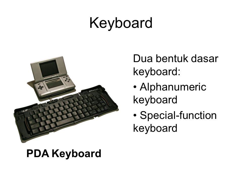 Keyboard PDA Keyboard Dua bentuk dasar keyboard: Alphanumeric keyboard Special-function keyboard