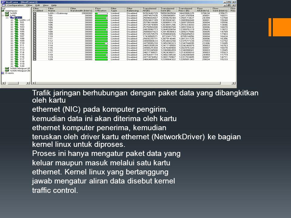 Trafik jaringan berhubungan dengan paket data yang dibangkitkan oleh kartu ethernet (NIC) pada komputer pengirim.