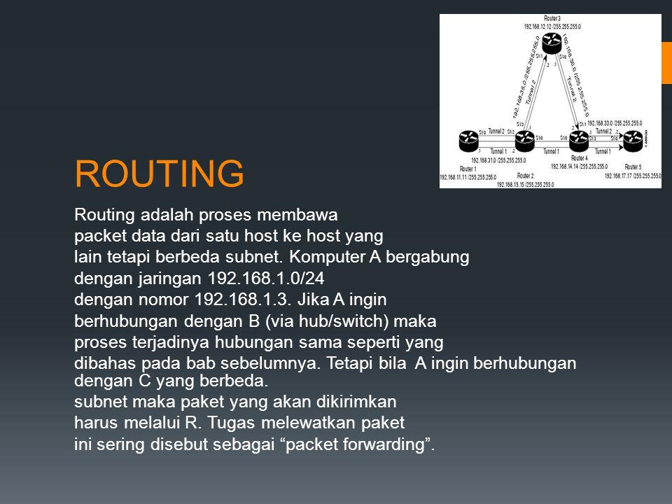 ROUTING Routing adalah proses membawa packet data dari satu host ke host yang lain tetapi berbeda subnet.