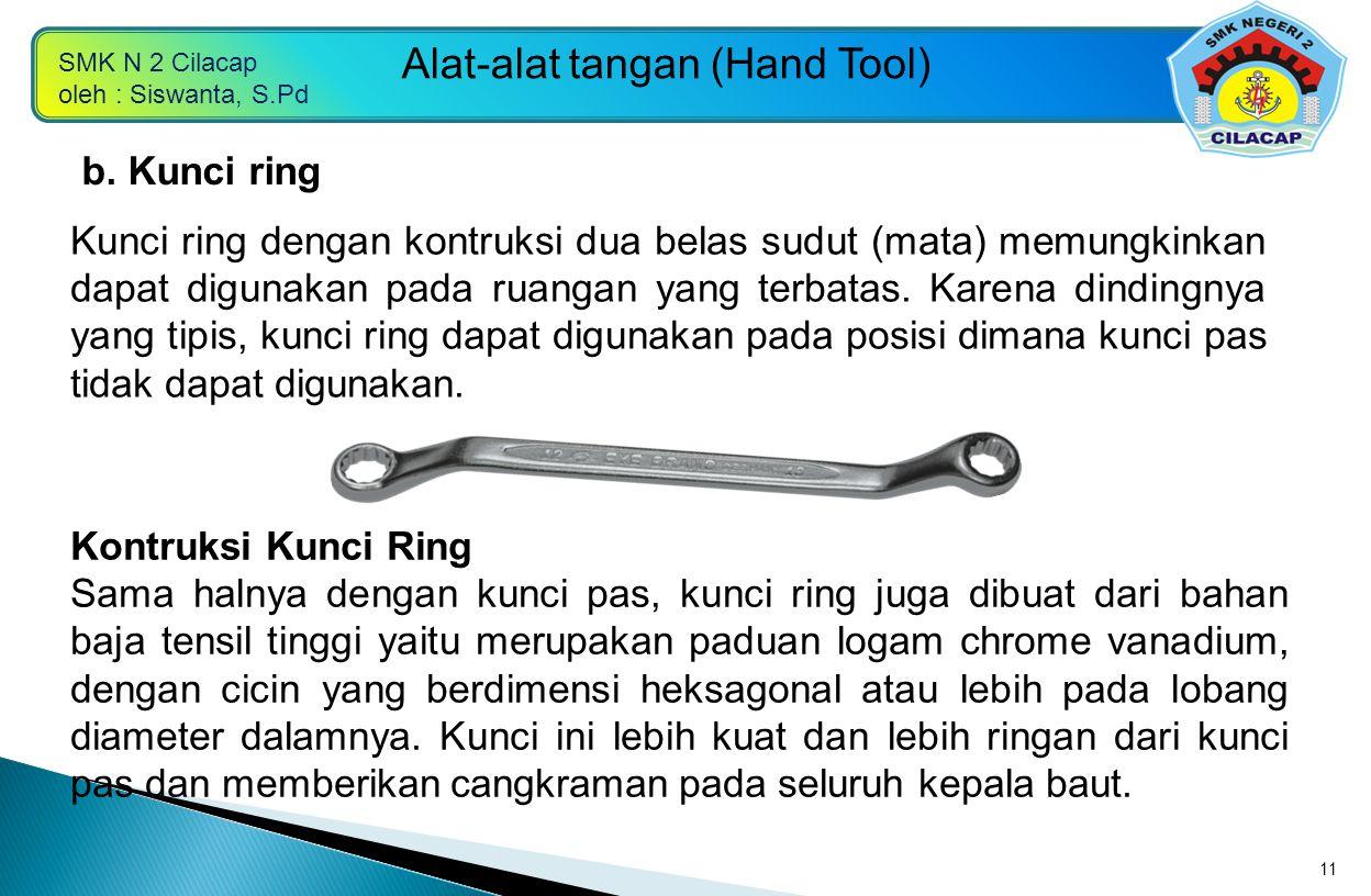 SMK N 2 Cilacap oleh : Siswanta, S.Pd Alat-alat tangan (Hand Tool) 11 Kunci ring dengan kontruksi dua belas sudut (mata) memungkinkan dapat digunakan