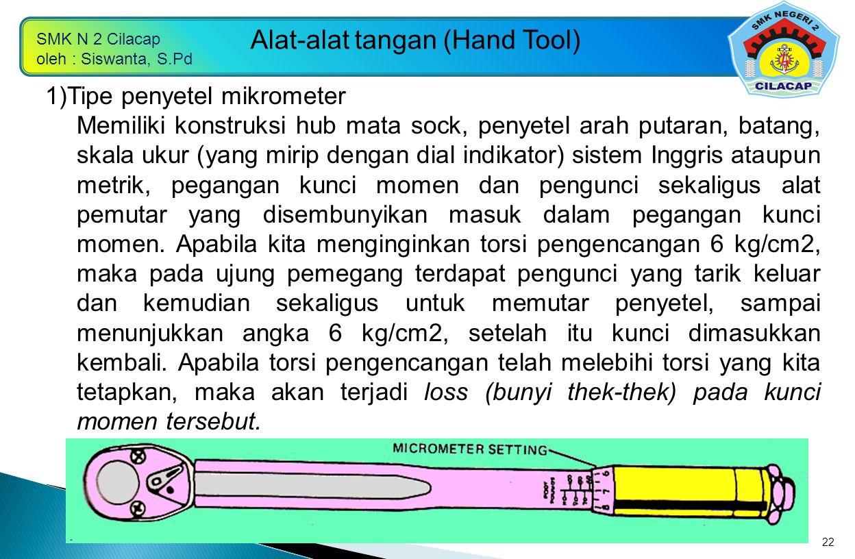SMK N 2 Cilacap oleh : Siswanta, S.Pd Alat-alat tangan (Hand Tool) 22 1)Tipe penyetel mikrometer Memiliki konstruksi hub mata sock, penyetel arah puta