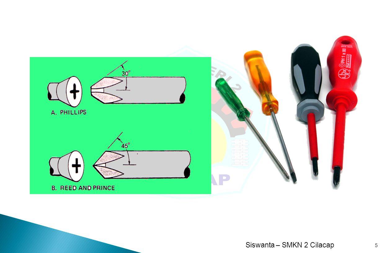 SMK N 2 Cilacap oleh : Siswanta, S.Pd Alat-alat tangan (Hand Tool) 16  Extension Alat ini hanya merupakan alat bantu penyambung antara pemegang (handle) dengan mata sock.