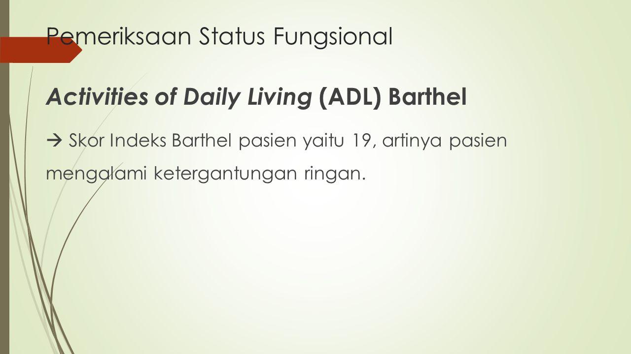 Pemeriksaan Status Fungsional Activities of Daily Living (ADL) Barthel  Skor Indeks Barthel pasien yaitu 19, artinya pasien mengalami ketergantungan
