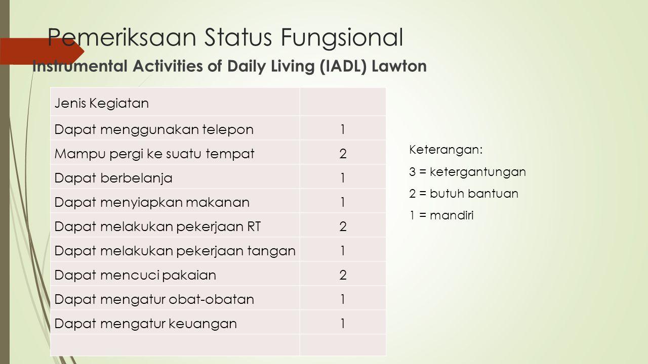 Pemeriksaan Status Fungsional Instrumental Activities of Daily Living (IADL) Lawton Jenis Kegiatan Dapat menggunakan telepon 1 Mampu pergi ke suatu te